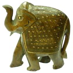 Wooden Jhuldar Elephant With Black Finishing Work