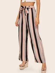 Printed Striped Palazzo Pants