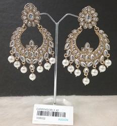 Kundan Pearl Chandbali Antique Earring