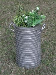 Galvanised Indoor- Outdoor Cylindrical Planter