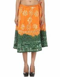 Knee Length Cotton Midi Bandhej Tie Dye Casual Skirt