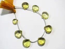 Lemon Quartz Faceted Briolette Natural Stone Beads