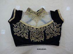 Black Velvet Stitched Blouse
