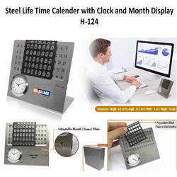 Steel Life Time Calender With Clock Month Display