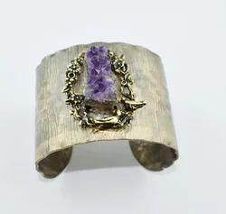 Amethyst Druzy Gemstone Cuff Bangles