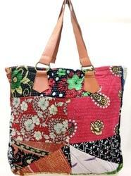 Vintage Kantha Handmade Lather Bag