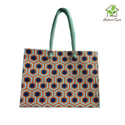 Jute Bag With Webbing Cord Handle And Diamond Print