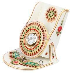Marble Gold Painted Mobile Stand With Clock