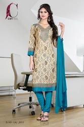 Peacock Blue and Beige Uniform Salwar Kameez