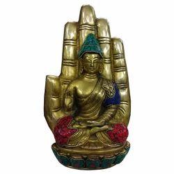 Brass Buddha Hand With Gemstone Work