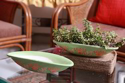 Boat Ceramic Green Painted Planter