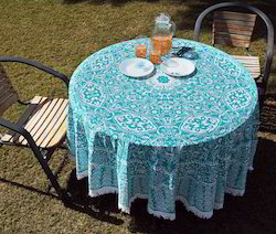 Pom Pom Lace Printed Round Table Decor Cloth