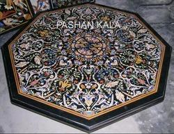Pietra Dura Black Marble Table Top