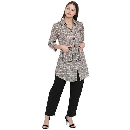 Grey Shirt Pattern Cotton Kurta