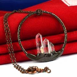 New Style Fashion Crystal Point Circle Oxidized Pendant