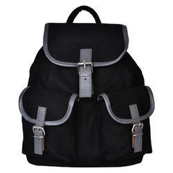 Monochrome Black Canvas Backpack