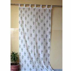 Hand Block Print Cotton Flower Curtain