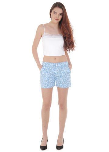 3faa2467ca712 Ladies Short - Blue Floral Print Cotton Lycra Shorts Manufacturer from Delhi
