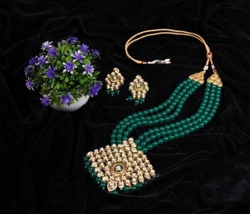 Artificial Kundan Bridal Green Ball Necklace Set