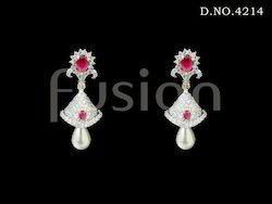 Cubic Zircon Ruby Jhumka Earrings