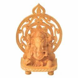 Wooden Mehrab Ganesha Statue