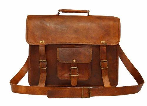 15 Inch Leather Vintage Crossbody Messenger Satchel Bag