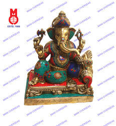 Lord Ganesh Sitting W/Pillow On Base W/Stone Work Statue