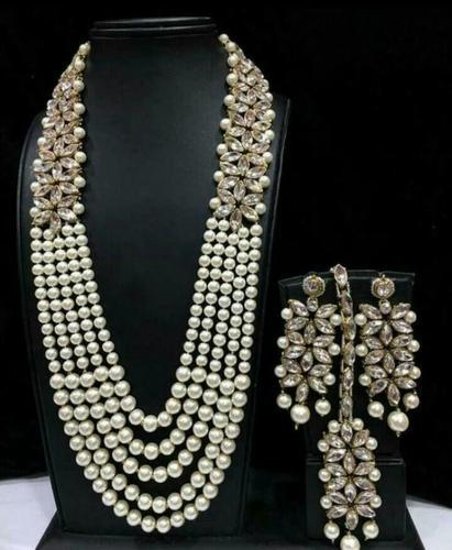 85735016a Pearl Kundan Set   Kundan Pearl Necklace Set Ecommerce Shop   Online ...