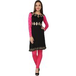 Ira-Soleil-Black-With-Pink-Long-Sleeves-Viscose-Knitted