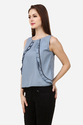 Women Blue Ruffle Western Top