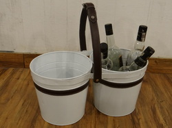Galvanised 2- Ter Storage Caddy With Leather Handle