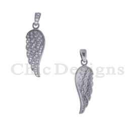 Diamond Feather Charm Pendant
