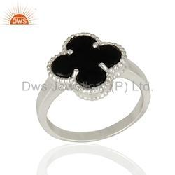Clover Design 925 Silver Gemstone Rings Jewelry