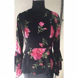 Ladies Black Floral Top