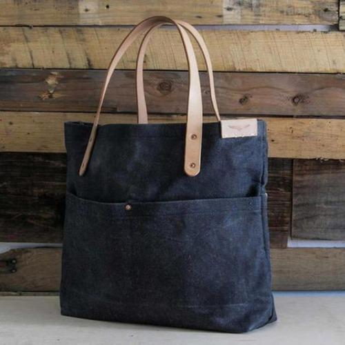 Colored Canvas Bag With Leather Handle