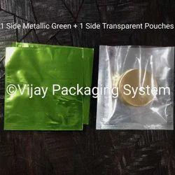 Metallic Green Polyester Laminated Pouches