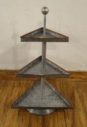 Galvanised 3-tier Triangular  Storage Stand/Cake Stand With Copper Strip