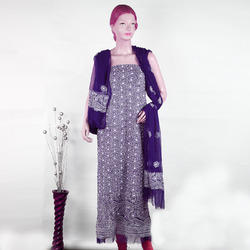 Chikan Heavy Embroidered Unstitched Suit