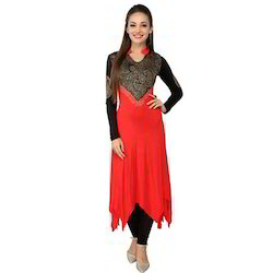 Ira Soleil Red & black Block Printed Viscose Knitted Stretch