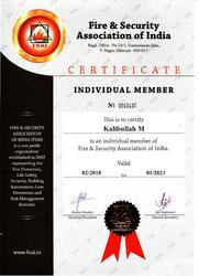 Life Membership Certificate from Fire & Safety Association of India
