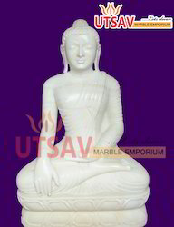 Pure White Marble Lord Buddha Statue
