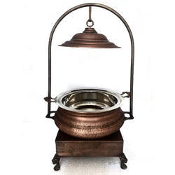 Smokey Hammered Hyatt Mahal Chafer with Heritage Chowki