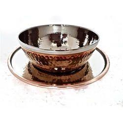 Copper Steel Hammered Bowl with Under Liner