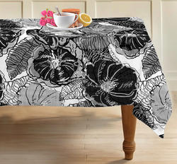 Black and White Printed Tablecloth