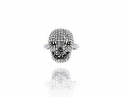 Silver Diamond Skull Ring