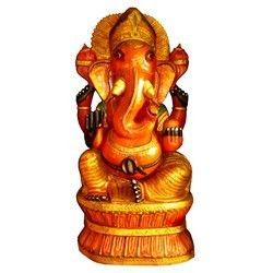 Natural Wooden Painted Ganesha Statue