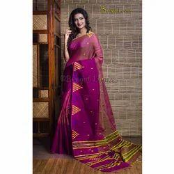 Pure Handloom Khadi Soft Cotton Silk Saree in Purple