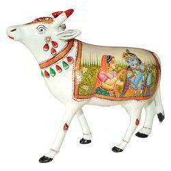 Metal Meena Cow With Radha Krishna Painting Work