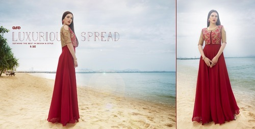 Shineon Red & Brown Designer Long Kurti