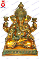 Ganesh Sitting On Sq. Base Decorative Statue